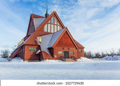 The church of Kiruna, Sweden. Built in Gothic Revival style at  the beginning of the XIX century, it is one of the largest wooden building.