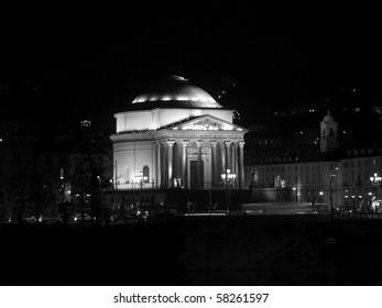 Church of La Gran Madre in Turin, Italy - at night