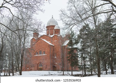 Church of Lappeenranta. Originally meant to be orthodox but eventually finished as lutheran church; due that it has unconventional dome towers.