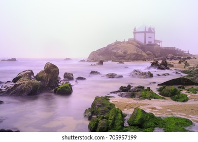 Church Lord of the Stone in Porto, Portugal surround by fog