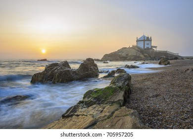Church Lord of the Stone in Porto, Portugal on sunset