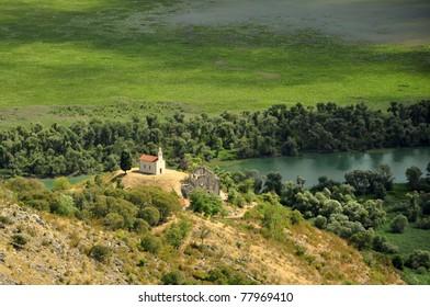 Church lost in Lake Skadar, Montenegro