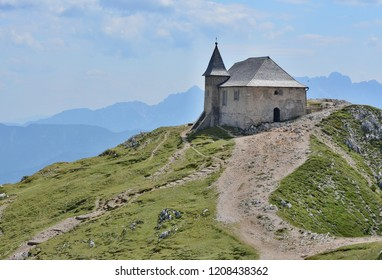 The church of Maria am Stein, the mountain Dobratsch (or Villacher Alpe, 2166 m above sea level) in the Austrian state of Carinthia. It forms the eastern tip of the Gailtal Alps. Austria