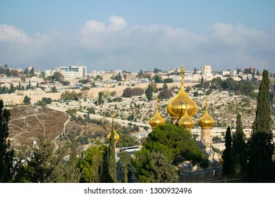 The Church of Mary Magdalene, a Russian Orthodox with magnificent golden spires at the foot of Mount Olives in Jerusalem