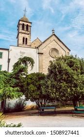 Church and monastery of St. Frane, Sibenik, Croatia. Travel destination. Religious architecture.