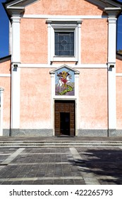 church  in  the   mornago    closed brick tower sidewalk italy  lombardy     old