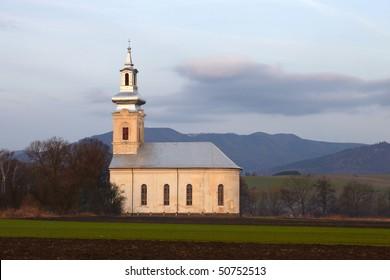 church in morning landscape