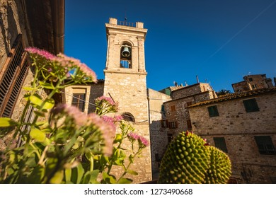Church of Most Holy Mary above the door in the medieval village of Suvereto, province of Livorno, Tuscany, Italy