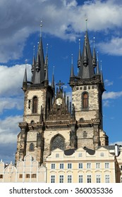 Church of Mother of God before Tyn in Prague with blue skies in the background