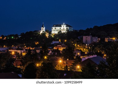 Church of Mother God and Missionary museum, Calvary in Nitra city, Slovak republic. Religious architecture. Night scene.