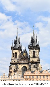 Church of Mother or Our Lady of God before Tyn in the Old Town Square in Prague, Czech Republic, with blue sky and white clouds in the background. Copy space.