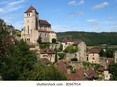 The church at the mountain village of Saint Cirque La Popie in the Lot region of France