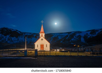 Church Myrdal, Vik village, winter in Iceland, storm in southern Iceland