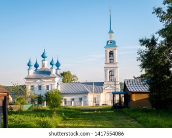 church in the native village of the Russian hero Ivan Susanin. blue sky in the Kostroma region. blue domes.
