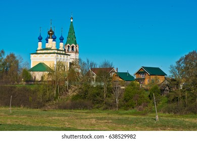 The Church of the Nativity of the Blessed Virgin Mary with a bell tower in the village of Gorica/ Shuya district/ Ivanovo region/ Russia/ Spring landscape/ Golden Ring of Russia Travel.