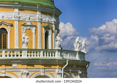 Church of the Nativity of the Blessed Virgin in Podmoklovo, Moscow Region, Russia. A rotunda-shaped temple surrounded by statues of the twelve Apostles