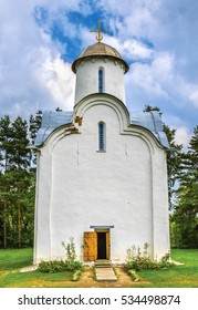 The church of The Nativity Of The Virgin (12th centure) in Perynsky Skit at the St. George's (Yuriev) Monastery. Novgorod the Great, Russia