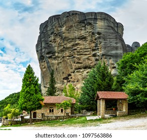 Church of the Nativity of the Virgin. Monasteries on the top of rock in summer day in Meteora, Greece.
