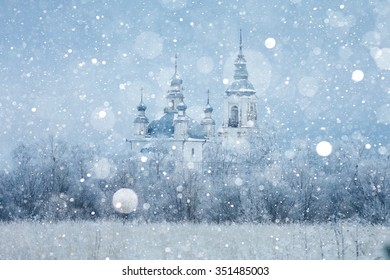 Church of the nature of a snowy landscape winter