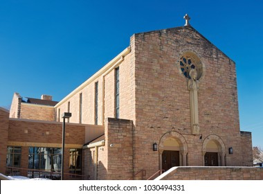 church nave and narthex exterior and double door entrances in west saint paul minnesota