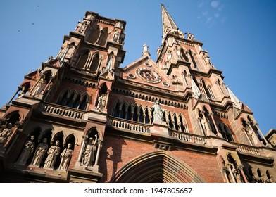 Сatholic church in neogothic architectural style called Iglesia del Sagrado Corazon de Jesus or Iglesia de los Capuchinos located in Cordoba, Argentina.Exterior with statues of catholic saints