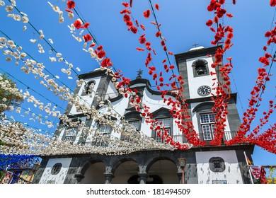Church Nossa Senhora do Monte and flower decorations, Madeira island, Portugal