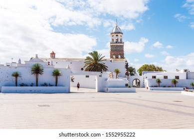 church Nuestra Senora de Guadalupe in Teguise, old capital city of Lanzarote, Canary Islands, against beautiful blue sky on sunny day