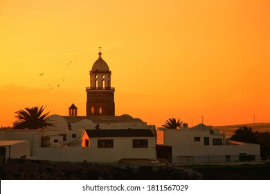 Church Nuestra Senora de Guadalupe at sunset, Teguise, Island Lanzarote, Canary Islands, Spain.