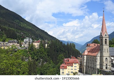 church and old buildings Bad Gastein cityscape Austria