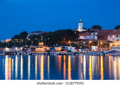 Church in old town of Nessebar at night