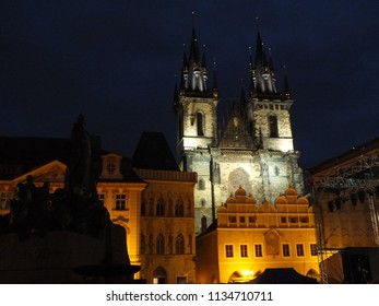 Church in Old Town Square in Prague at Night - Shutterstock ID 1134710711