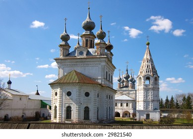 Church on a background of the blue sky with a cloud. Russia, Yur'ev-Polskiy