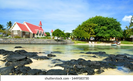 Church on the beach in Cap Malheureux on Mauritius Island.