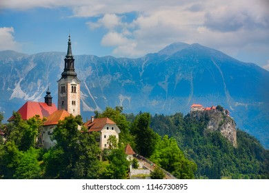 The Church on Bled Island in Lake Bled, and Bled Castle, Slovenia