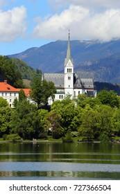 Church on Bled lake (Blejsko jezero) in Slovenia, Europe