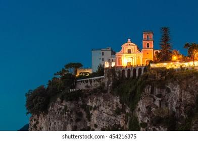 Church on cliff in peninsula sorrentina