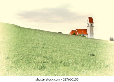 Church on the Hill in Bavaria, Germany, Retro Image Filtered Style