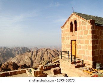A church on the hill of Mount Sinai, which is a mountain in the Sinai Peninsula of Egypt that is a possible location of the biblical Mount Sinai, considered a holy site by the Abrahamic religions.