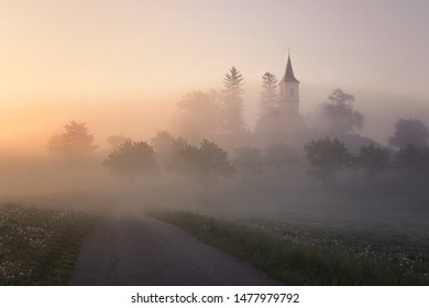A church on a hill partly hidden in the fog, some trees in the foreground. A romantic scene with morning light.