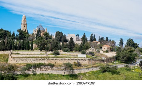 A church on the hillside of Mount Zion on the outskirts of the old city of Jerusalem.