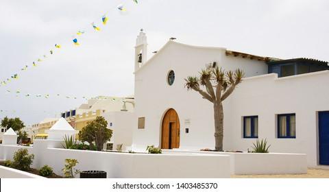 Church on the island of La Graciosa, Lanzarote, Canary Islands, Spain, Europe