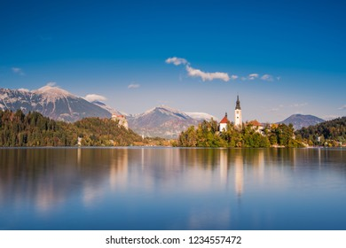 Church on island of lake Bled, long exposure, Slovenia.