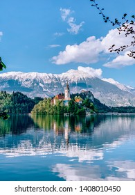 church on island in the lake Bled Slovenia