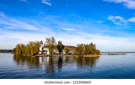 Church on an island in lake Chiemsee Bayern kloster fraueninsel