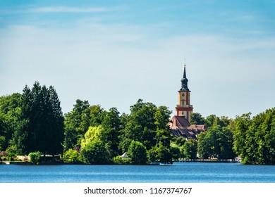 Church on a lake in Templin, Germany.