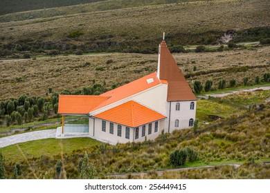 Church on the mountain hill near Quito, Ecuador