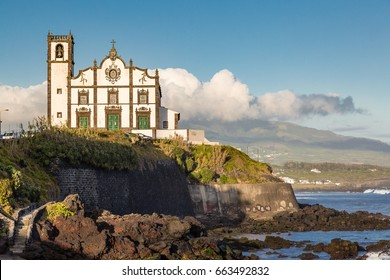 Church on the seafront town of Sao Rogue on Sao Miguel Island. Sao Miguel is part of the Azores archipelago in the Atlantic Ocean.
