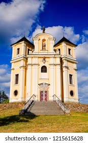 Church on the top of Makova hora near Smolotely village in Pribram District, Czech Republic. Poppy Mountain (Makova hora) place of pilgrimage on the high hill