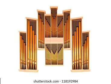 Church organ gold isolated on white background