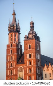 Church of Our Lady Assumed into Heaven simply called Saint Mary Church on Main Market Square of Old Town in Cracow city in Poland
